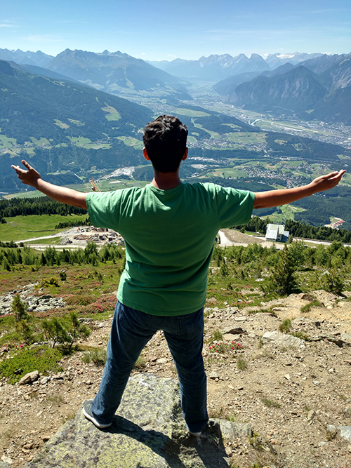 Anthony looking at Austrian landscape