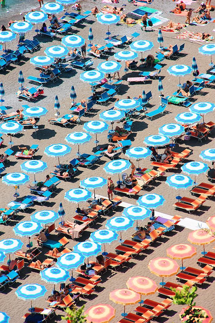 Aerial shot of Positano in Amalfi Coast