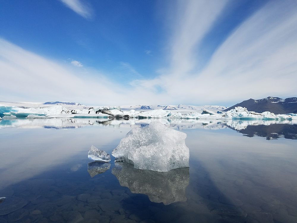 A body of water and ice