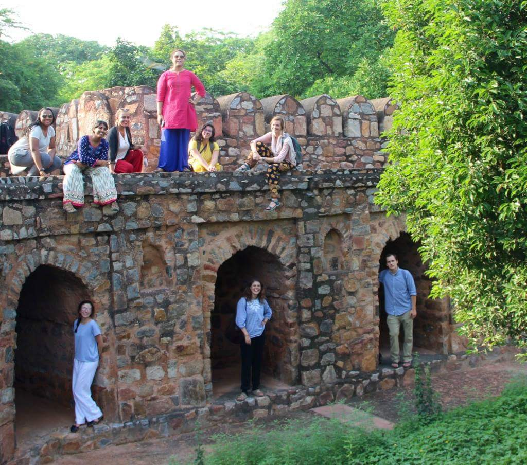 Jessica and classmates at a fort in New Delhi