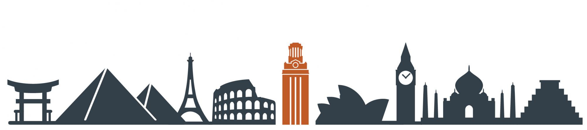 world landmarks with the UT Tower in the middle