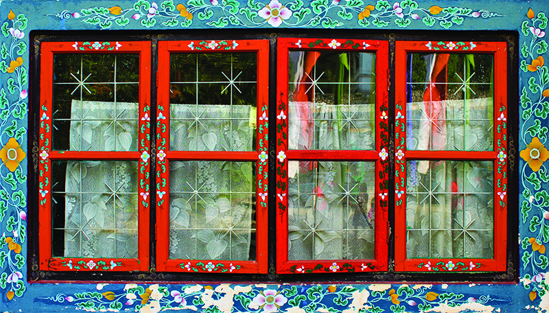 Traditionally painted windows in Gangtok, the capital of the Indian state of Sikkim Amritesh.