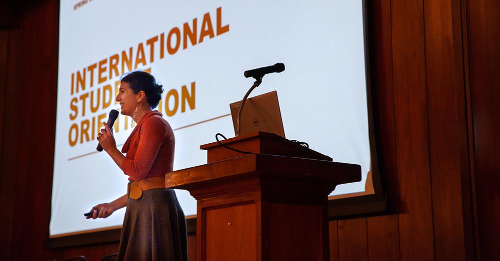 Assistant Director Tatiana Woldman welcomes international students