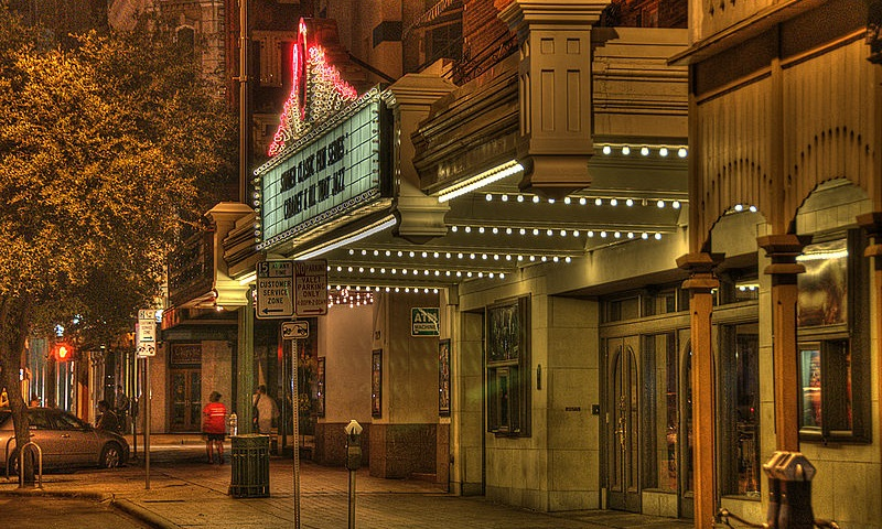 A view of the Paramount theater at night.