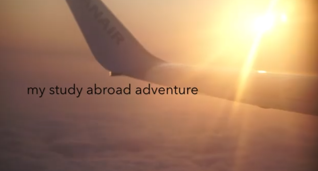 "A video screenshot saying ""my study abroad adventure"""