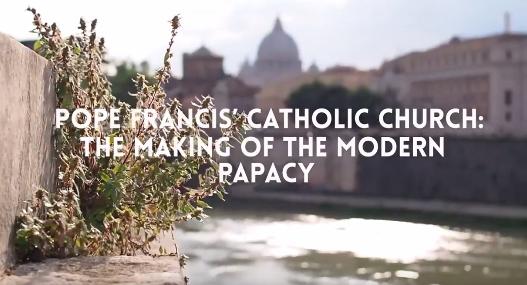 A video screen shot about the Catholic church