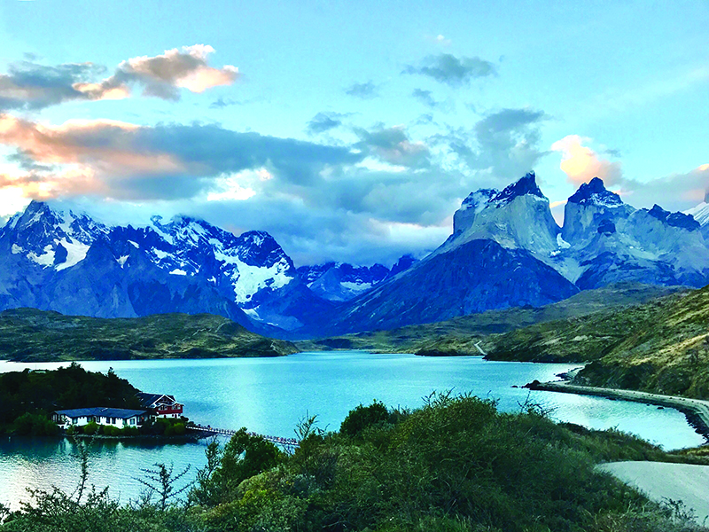 Landscape photo of lake and mountains in Patagonia, Chile.