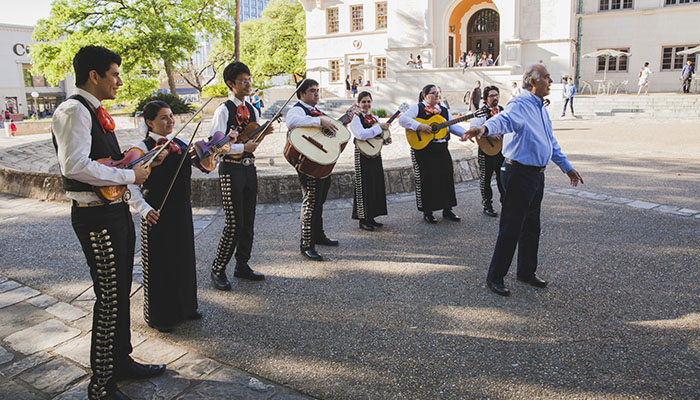 A mariachi band performs for participants of the Global Professional Training: Mexico conference.
