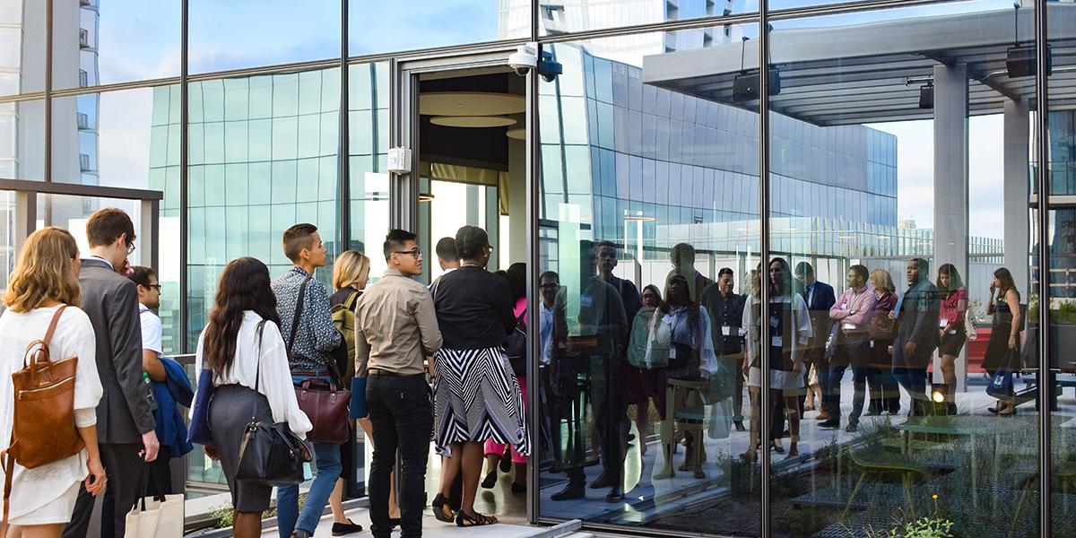 Participants tour the Google building in downtown Austin