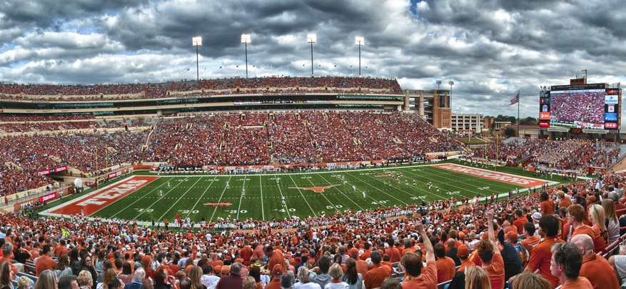 Darrell K Royal stadium during a football game.