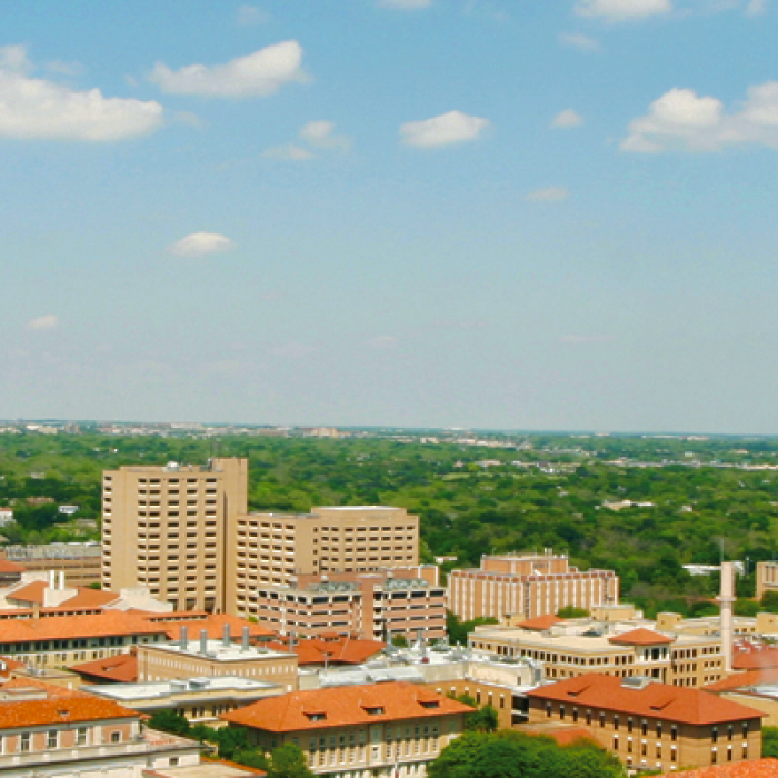 An aerial view of the UT Austin campus.