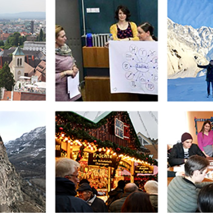 Collage of international photos taken by UT Fulbright grantees.