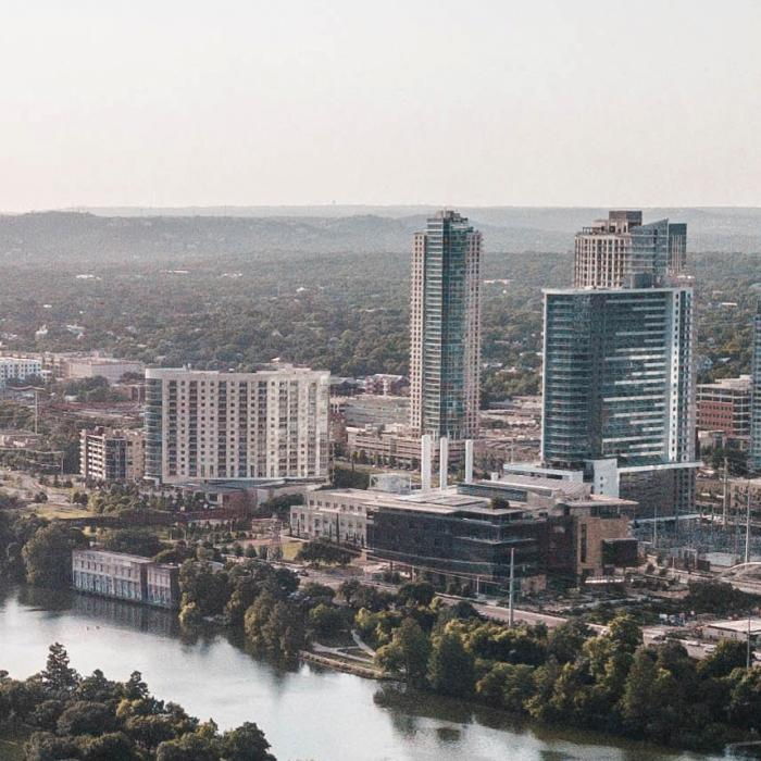 a view of the austin skyline