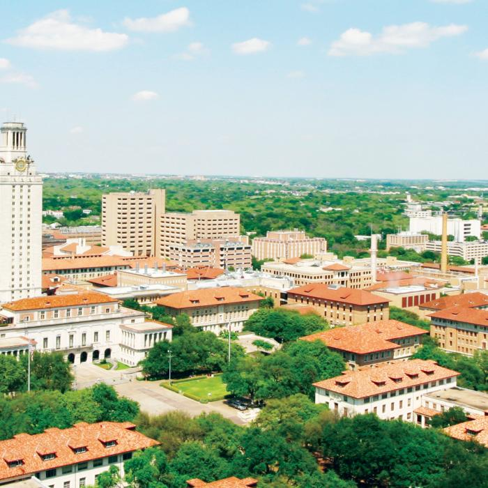 an aerial view of ut campus