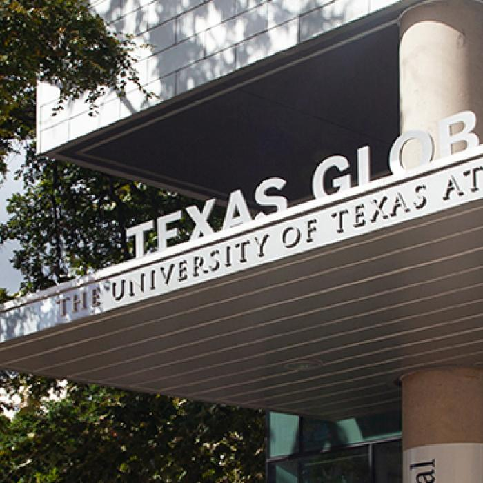 a view of the texas global building