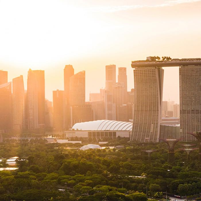 a view of the city of singapore at sunset