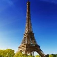 Eiffeltower with trees on ground and clear sky