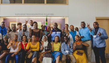 the mandela washington fellows stand together and pose