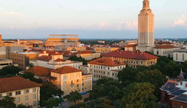a view of the ut campus with the tower