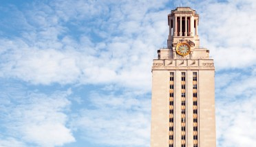 a view of the top of the ut tower