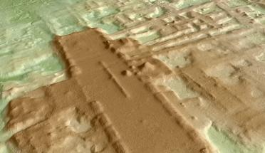 3D rendering of overhead view of ancient Mayan site