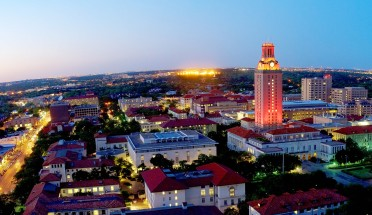 a view of the ut tower and campus at night